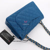 Classic Small Double Flap 21C Blue Quilted Caviar with light gold hardware