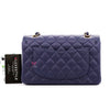 Classic Small Double Flap 21S Navy Quilted Caviar with light gold hardware