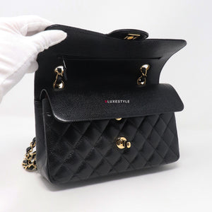 Classic Small Double Flap Black Quilted Caviar with gold hardware