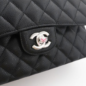 Chanel Classic Small Double Flap Black Quilted Caviar with silver hardware