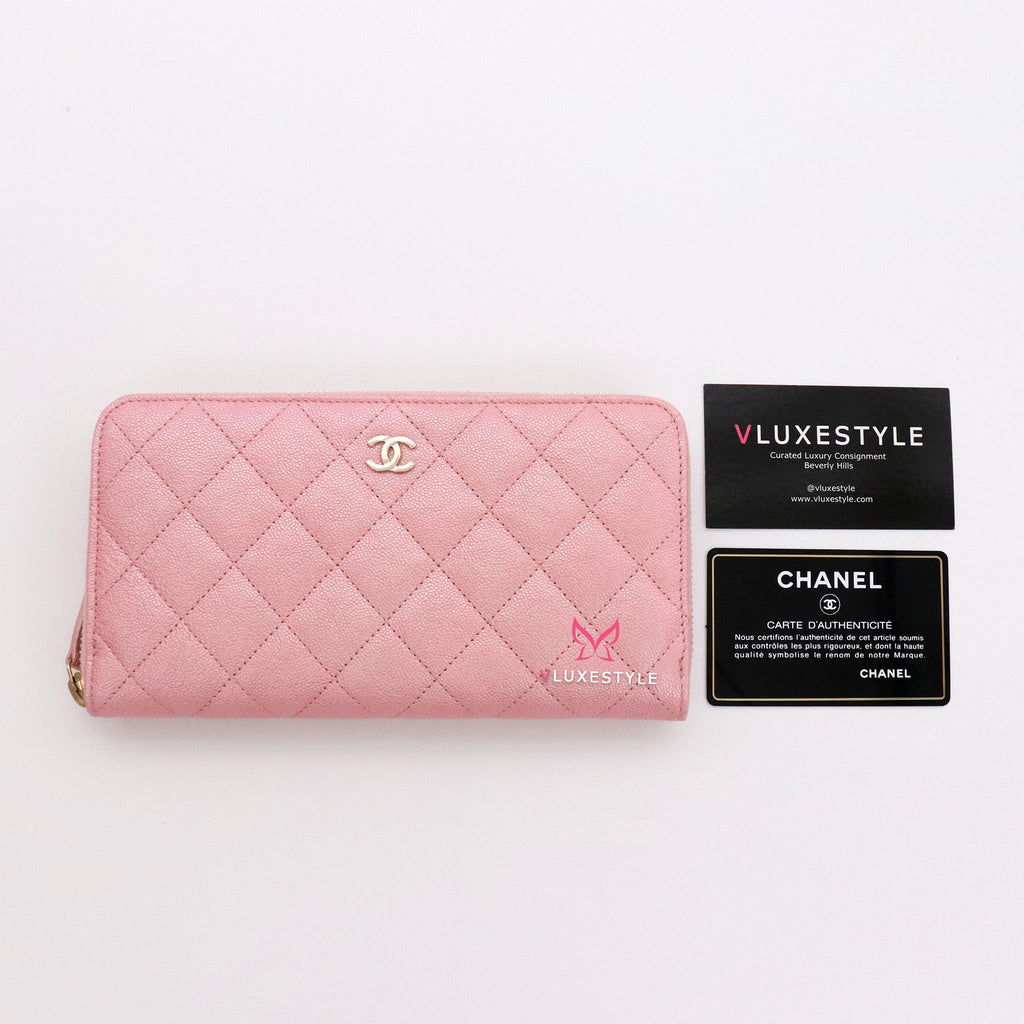 Chanel Classic Zipped Wallet 19S Iridescent Pink Quilted Caviar with light gold hardware