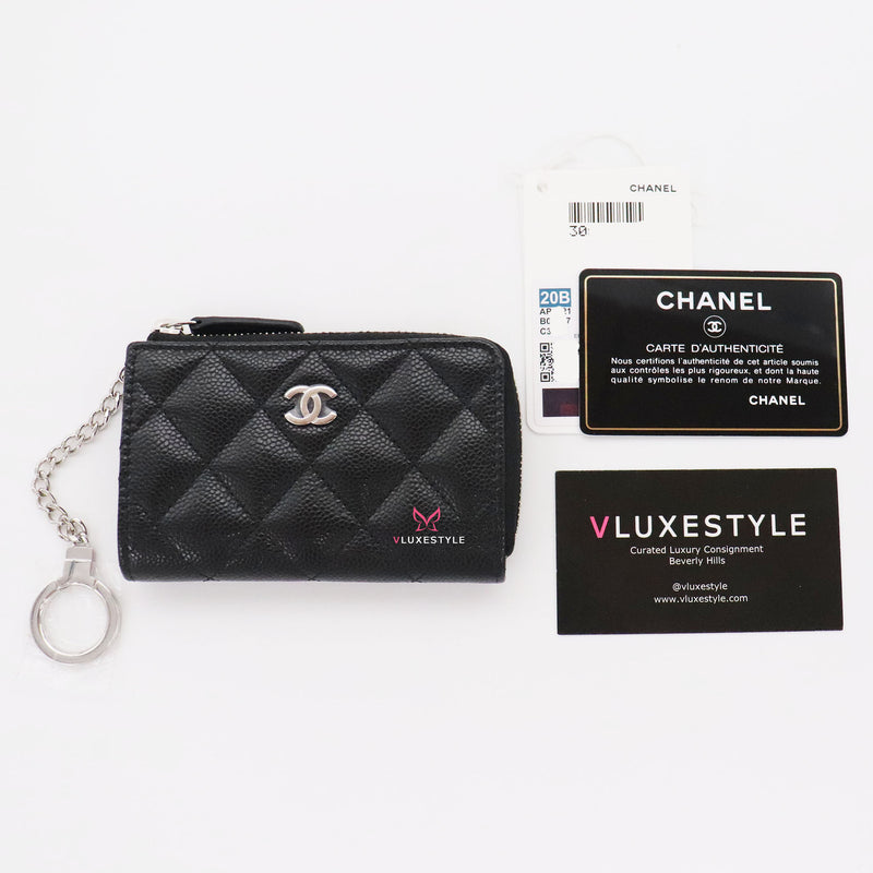 Chanel Classic Zipped Key holder Black Quilted Caviar with silver hardware ⁣ ⁣