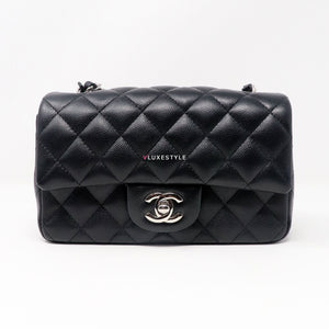 Chanel 17B Classic Mini Rectangular Black Quilted Caviar with silver hardware