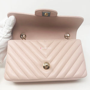 Classic 17C Cuba Collection Light Soft Pink Mini Rectangular Chevron Lambskin with light gold hardware