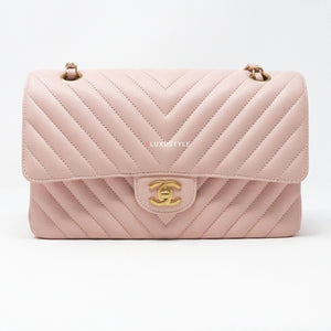 Chanel Classic Medium Double Flap 17C Pink Chevron Calfskin with brushed gold hardware