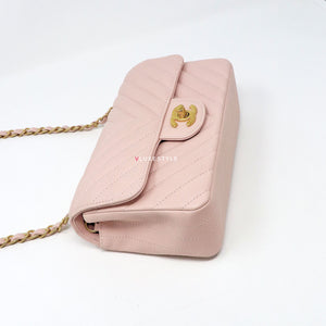 Chanel Classic Mini Rectangular 17C Pink Chevron Calfskin with brushed gold hardware