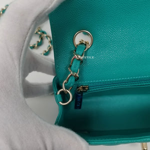 Chanel 17C Mini Rectangular Turquoise Caviar with shiny light gold hardware