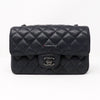 Chanel 17S So Black Classic Mini Rectangular Crumpled Quilted Calfskin with shiny black hardware