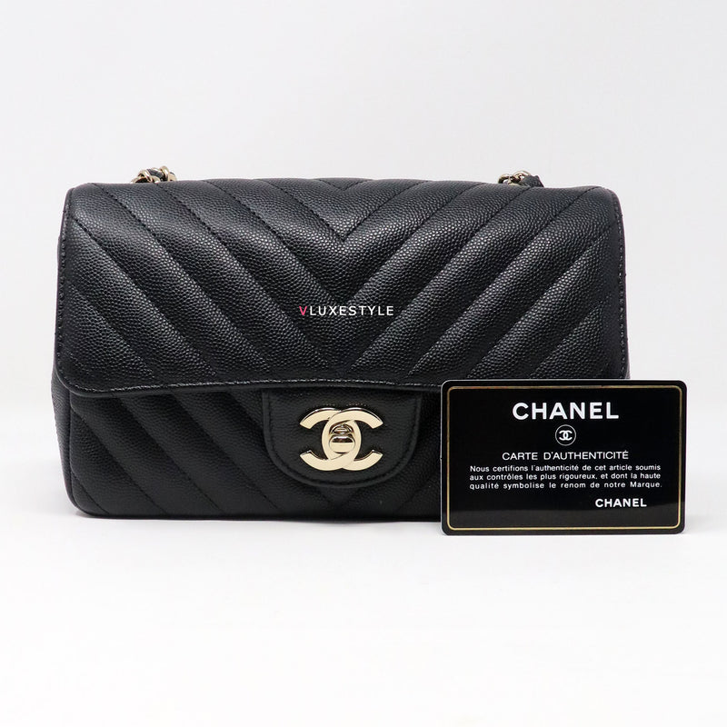 Chanel 18B Classic Mini Rectangular Black Chevron Caviar with light gold hardware