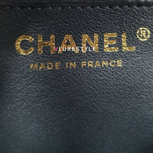 Chanel 18S Classic Mini Rectangular Dark Grey Quilted Caviar with light gold hardware