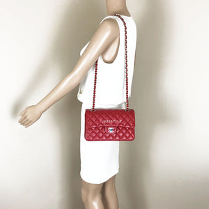 Chanel Classic Small 19B Red Caviar with light gold hardware