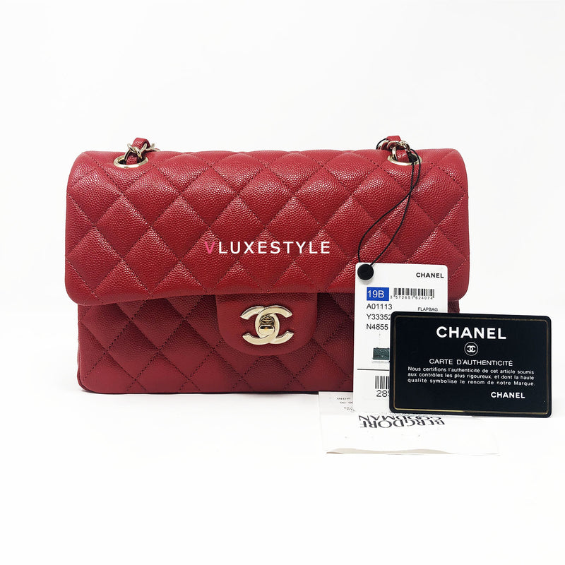 Classic 19B Red Small Quilted Caviar Double Flap with light gold hardware