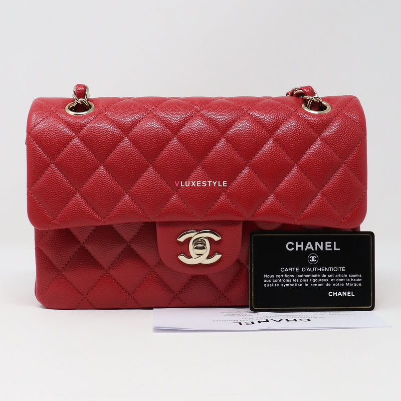 Chanel Classic Small 19B Red Quilted Caviar with light gold hardware