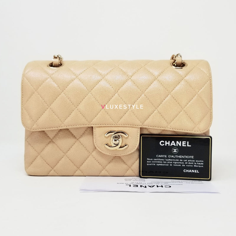 Chanel Classic Small Double Flap 19S Iridescent Light Beige Quilted Caviar with light gold hardware