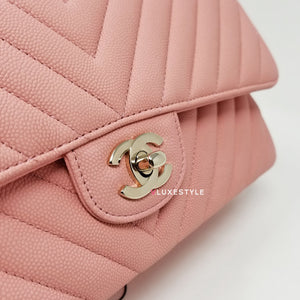 Chanel 19S Classic Medium Double Flap Pink Matte Chevron Caviar with light gold hardware