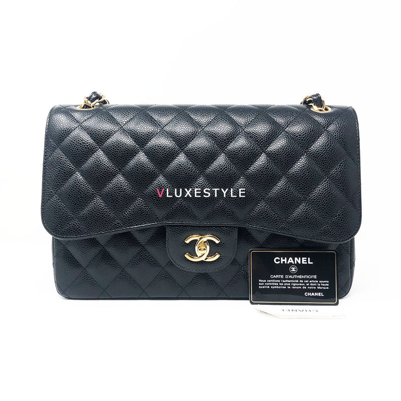 Classic Black Jumbo Double Flap Caviar with gold hardware