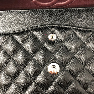 Partial payment: Chanel Classic Medium Double Flap Black Quilted Caviar with silver hardware