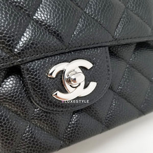 Chanel Classic  Black Quilted Caviar Medium Double Flap with silver hardware