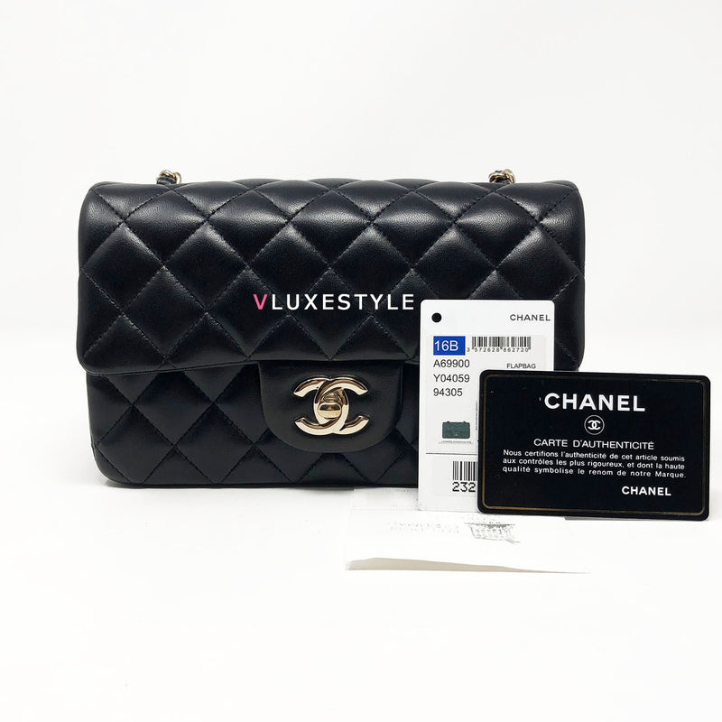 Chanel 16B Classic Mini Rectangular Black Quilted Lambskin with light gold hardware