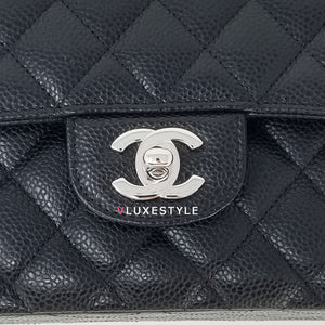 Chanel Classic Small Double Flap Black Caviar with silver hardware