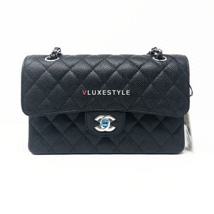 Classic Small Black Quilted Caviar Double Flap with silver hardware