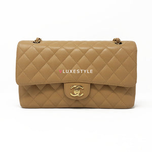 Chanel Vintage Classic Medium Double Flap Dark Beige Quilted Caviar with 24K gold plated hardware