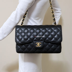 Classic Jumbo Double Flap Black Quilted Caviar with gold hardware