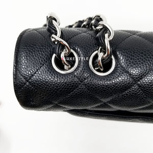 Chanel Classic Jumbo Single Flap Black Quilted Caviar with silver hardware