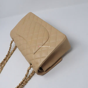 Chanel Classic Medium Beige Quilted Caviar with gold hardware
