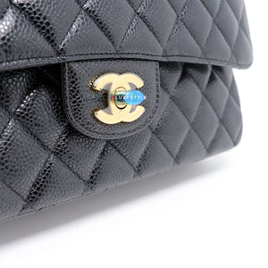 Classic Medium Double Flap Black Quilted Caviar with gold hardware