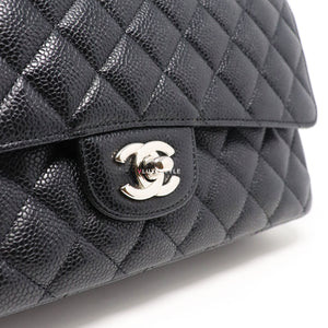 Chanel Classic Medium Black Quilted Caviar with silver hardware