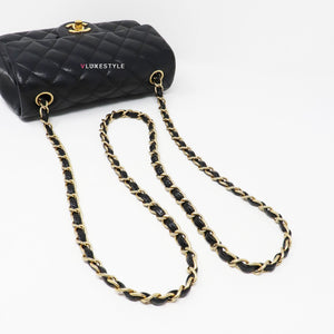 Classic Mini Rectangular Black Quilted Caviar with brushed gold hardware