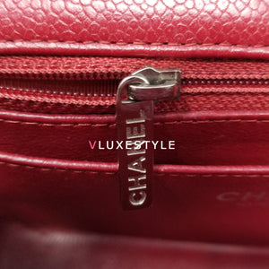 Chanel Classic 12A Mini Rectangular Red Quilted Caviar with silver hardware