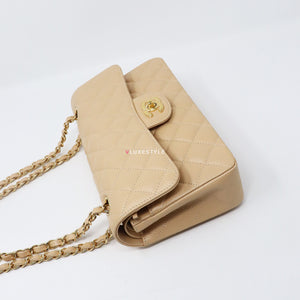 Chanel Classic Small Double Flap Beige Quilted Caviar with gold hardware