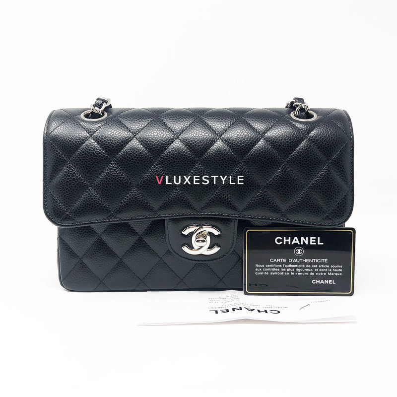Chanel Classic Small Black Caviar Double Flap with silver hardware