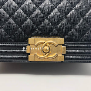 Le Boy Old Medium Black Caviar with brushed gold hardware