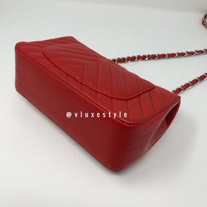 17S Mini Red Caviar Rectangular with silver hardware