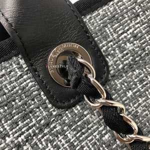Chanel Deauville with Handle 18C Black/Gray Tweed with silver hardware