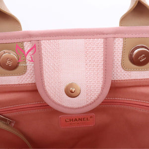 Chanel Deauville with handle 20P Pink/Beige Mixed Fibers with light gold hardware