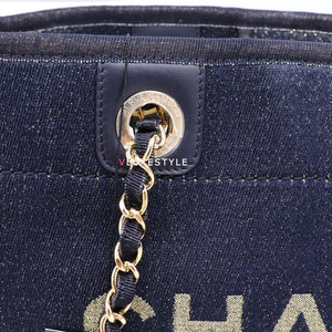 Chanel Deauville 19A Dark Blue Mixed Fibers Lurex Canvas with gold hardware