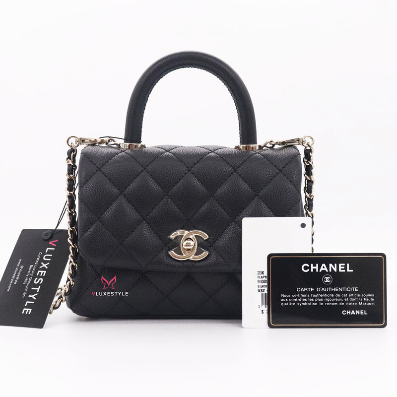 Chanel Extra Mini Coco Handle 20K Black Quilted Caviar with light gold hardware