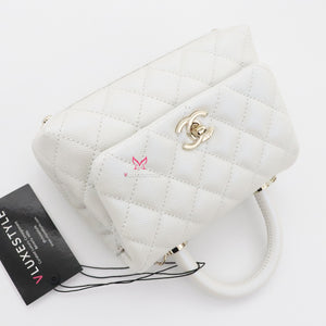 Chanel Extra Mini Coco Handle 20K Iridescent White Quilted Caviar with light gold hardware
