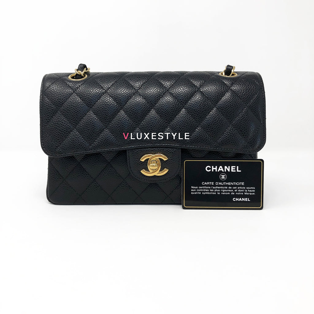 7b30ab87ae79c0 Classic Black Caviar with gold hardware in size Small
