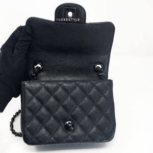 17S So Black Mini Square Crumpled Calfskin with black hardware