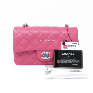 19C Mini Bubblegum Pink Lambskin Rectangular with silver hardware