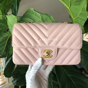 Classic Mini Rectangular 17C Pink Chevron Calfskin with brushed gold hardware