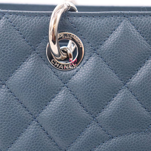 Chanel Grand Shopping Tote GST 14A Blue Quilted Caviar with silver hardware