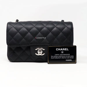 Chanel Classic Mini Rectangular 18C Black Quilted Caviar with silver hardware