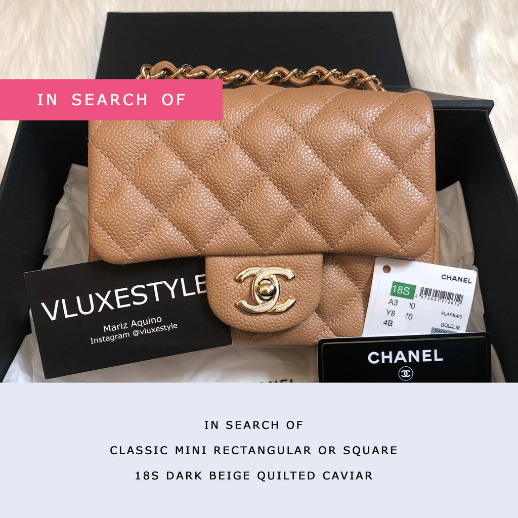 IN SEARCH OF Chanel Classic Mini Square/Rectangular 18S Dark Beige/Caramel Quilted Caviar with light gold hardware