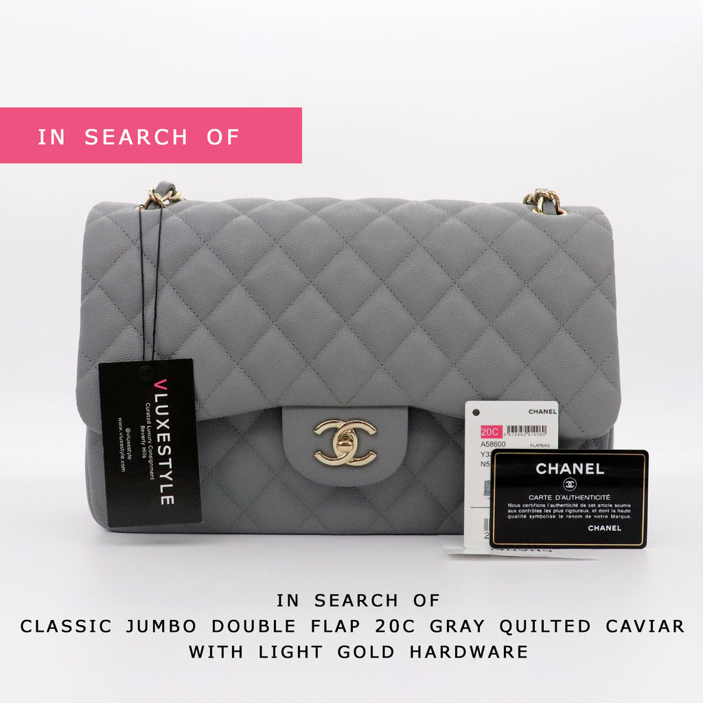 IN SEARCH OF Chanel Classic Small/Medium/Jumbo 20C Gray Quilted Caviar with light gold hardware